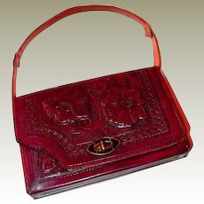 Reversible Red Brown Hand-Tooled Leather Mexican Handbag FINAL REDUCTION SALE