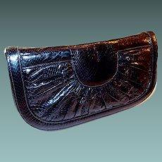 Genuine Black Snake Reptile Clutch Purse Convertible Shoulder Strap Handbag