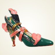 KJL Green Enamel Dress Shoe with Ribbon