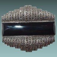 Art Deco Sterling Onyx Marcasite Brooch Book Piece