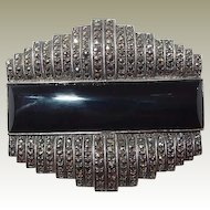Art Deco Sterling Onyx Marcasite Brooch FINAL REDUCTION SALE Book Piece