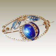 Art Nouveau Blue Enamel Pomegranate or Apple Fruit Pin Final REDUCTION