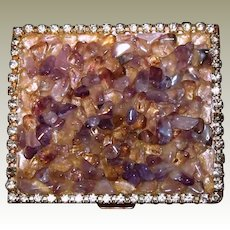 Powder Compact Amethyst Stone Rhinestones Trim
