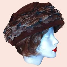 50% off Shop from Home Sale Union Winter Hat Brown Velvet Feather Size 8 by Livingstons Youngstown