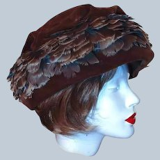 Last Chance SALE Union Winter Hat Brown Velvet Feather Size 8 by Livingstons Youngstown
