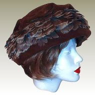 Union Winter Hat Brown Velvet Feather Size 8 by Livingstons Youngstown