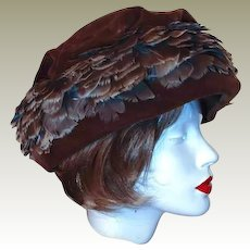 Union Winter Hat Brown Velvet Feather Size 8 FINAL REDUCTION SALE by Livingstons Youngstown