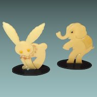 Painted Celluloid Circus Animal Critters Easter Rabbit Elephant