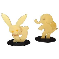 Painted Celluloid Circus Animal Critters Rabbit Elephant Place Card Holder