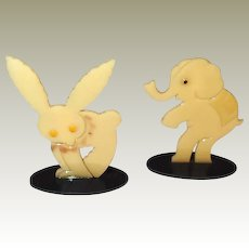 Painted Celluloid Circus Animal Critters FINAL REDUCTION SALE Rabbit Elephant