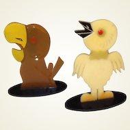 Art Deco Painted Celluloid Birds FINAL REDUCTION SALE