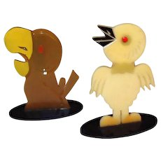 Art Deco Painted Celluloid Birds FINAL REDUCTION SALE