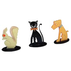 Early Celluloid Standup Animal Figures Dog Cat Squirrel