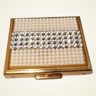 Pearl Rhinestone Compact S.F. Co. Fifth Avenue with Powder Buff FINAL REDUCTION SALE