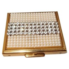 Pearl Rhinestone Compact S.F. Co. Fifth Avenue with Powder Buff