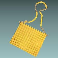 Med Century Yellow Bead Purse Chain Strap