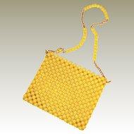 Mid Century Yellow Bead Purse Chain Strap