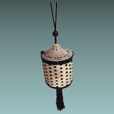 Basket Weave Vanity Bag Blue Rhinestones Silk Wrist Cord Tassel Interior Mirror