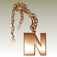 FINAL REDUCTION SALE: Crown Trifari Brushed Metal Initial N Necklace