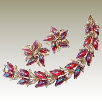Kramer Red Dragon Breath Bracelet Earring Set