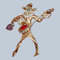 Musician Jester Brooch from 1940s Book Piece Last Chance SALE