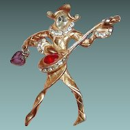 Figural Musician Jester Brooch from 1940s Book Piece