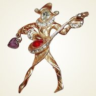 Figural Musician Jester Brooch FINAL REDUCTION SALE from 1940s Book Piece