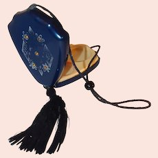50% off Shop from Home Sale Navy Blue Celluloid Art Deco Compact Purse Silk Tassel Gold Etching