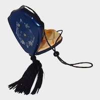 Navy Blue Celluloid Art Deco Compact Purse Silk Tassel Gold Etching