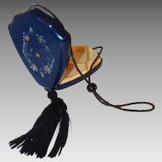 Navy Blue Celluloid Art Deco Compact Purse Silk Tassel Gold Etching