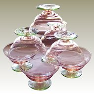 Rare Two-tone Pink Green Depression Sherbet Glass Set