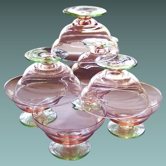 Rare Two-tone Pink Green Depression Sherbet Glass Set