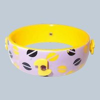Yellow Plastic Bangle Rhinestone Adornments Violet with Pop Art Last Chance SALE