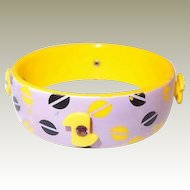 60s Yellow Plastic Bangle Rhinestone Adornments Violet with Pop Art