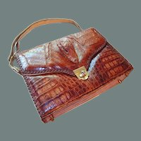 Genuine Alligator Handbag 1950s Made in USA 50% off Shop from Home Sale