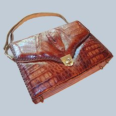 Genuine Alligator Handbag 1950s Made in USA