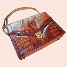 Genuine Alligator Handbag 1950s Made in USA