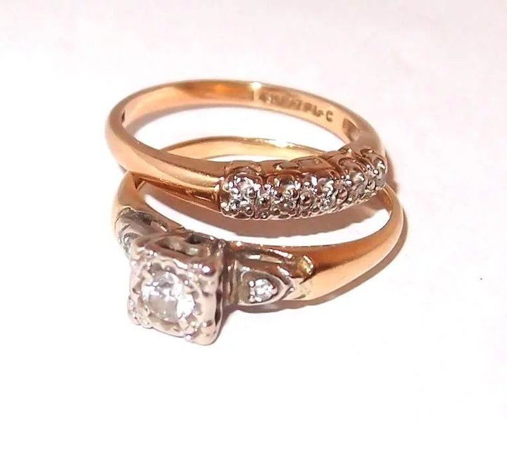 1940s Yellow Gold Wedding Ring Set With Diamonds Engagement Ring And Wedding  Band