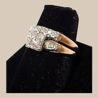 Yellow Gold Wedding Ring Set Diamond Engagement Ring and Wedding Band
