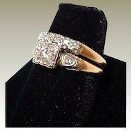 1940s Yellow Gold Wedding Ring Set Diamond Engagement Ring and Wedding Band FINAL REDUCTION SALE