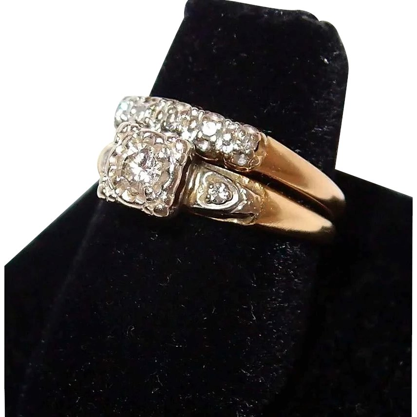 1940s Yellow Gold Wedding Ring Set With Diamonds Engagement Ring And Bangles And Beads Antique