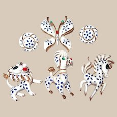 Trifari Precious Pet Pin Collection Includes Horse/Butterfly/Lion/Poodle and Earrings