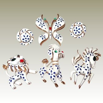 Trifari Precious Pet Pin Collection Includes Horse/Butterfly/Lion and Earrings