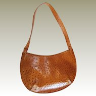 Leather Ostrich Skin Handbag by DKNY 1980s