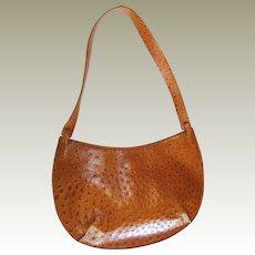 Leather Ostrich Skin Handbag by DKNY 1980s
