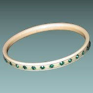 Art Deco Celluloid Bangle Emerald Green Rhinestones, Small Size