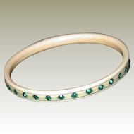 Art Deco Celluloid Bangle Emerald Green Rhinestones, Small Size FINAL REDUCTION SALE in Progress