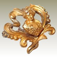 Art Nouveau Lady Motif Lapel Pin with Gold Overlay