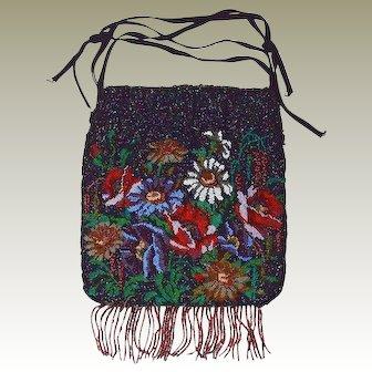 Micro Seed Bead Flower Garden Bag Ribbon Drawstring