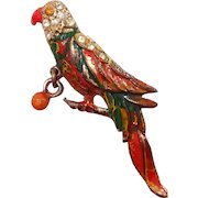 Enamel Perched Parrot Dangle Toy Ball